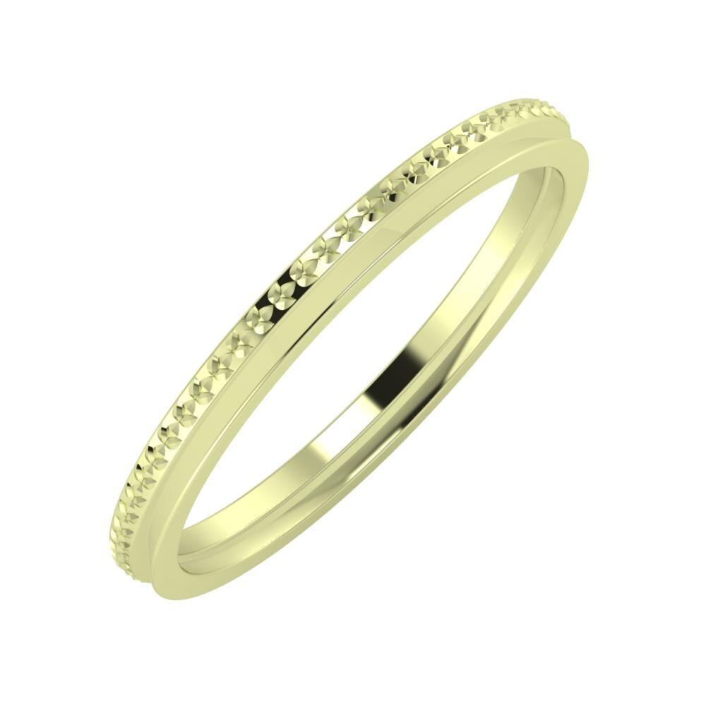 Ági - Aisa 2mm 14 karátos zöld arany karikagyűrű