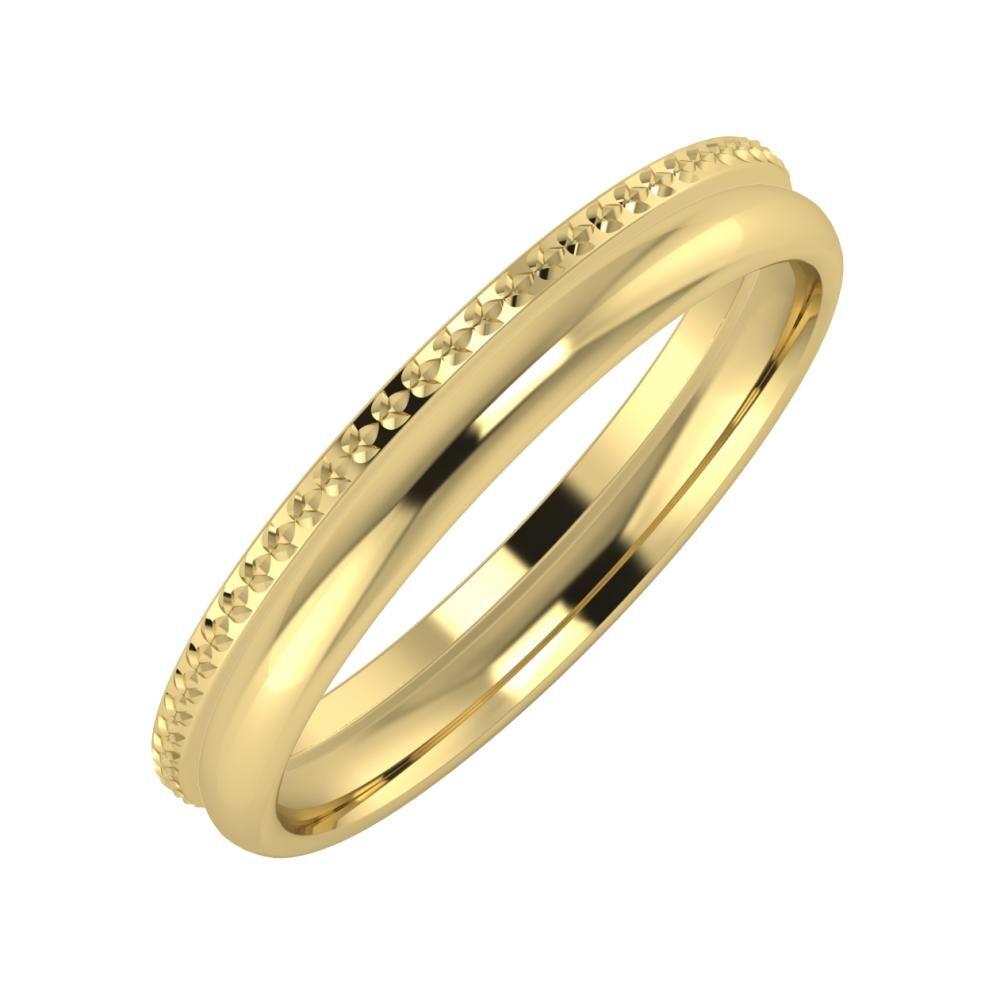 Ági - Alexa 3mm 14 karátos sárga arany karikagyűrű