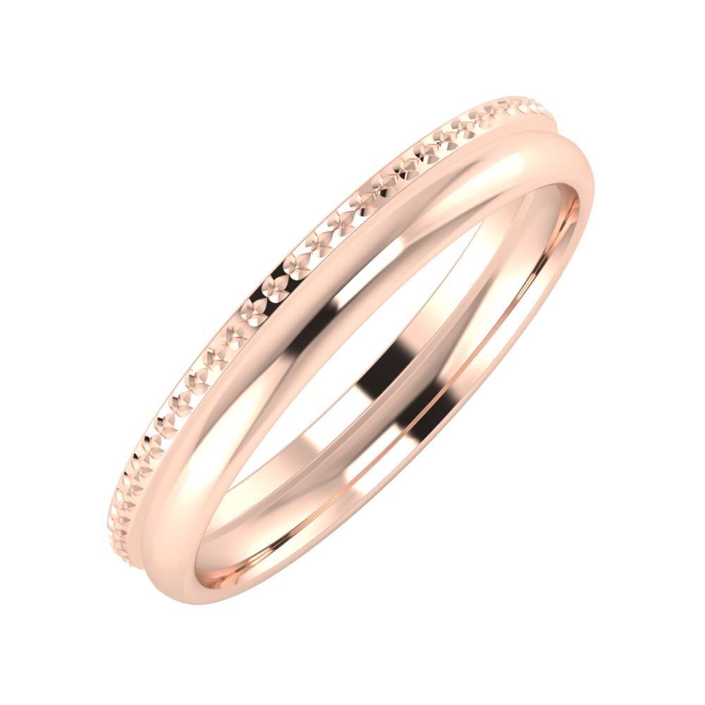 Ági - Alexa 3mm 18 karátos rosé arany karikagyűrű