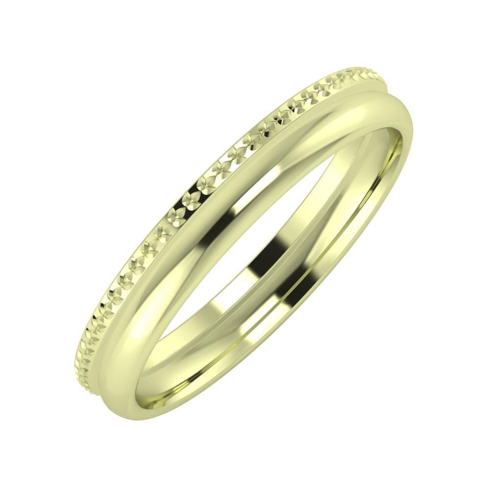 Ági - Alexa 3mm 14 karátos zöld arany karikagyűrű