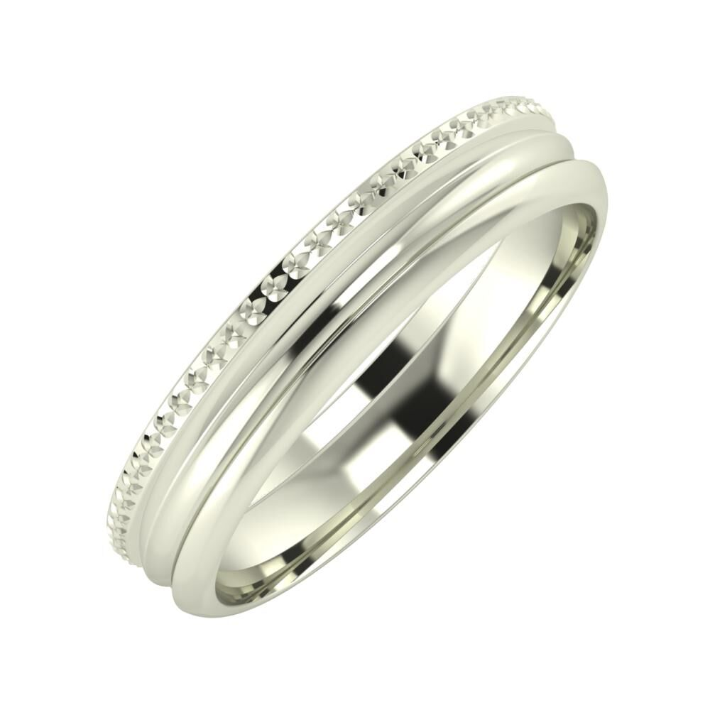 Ági - Alexandrin 4mm 18 karátos fehér arany karikagyűrű
