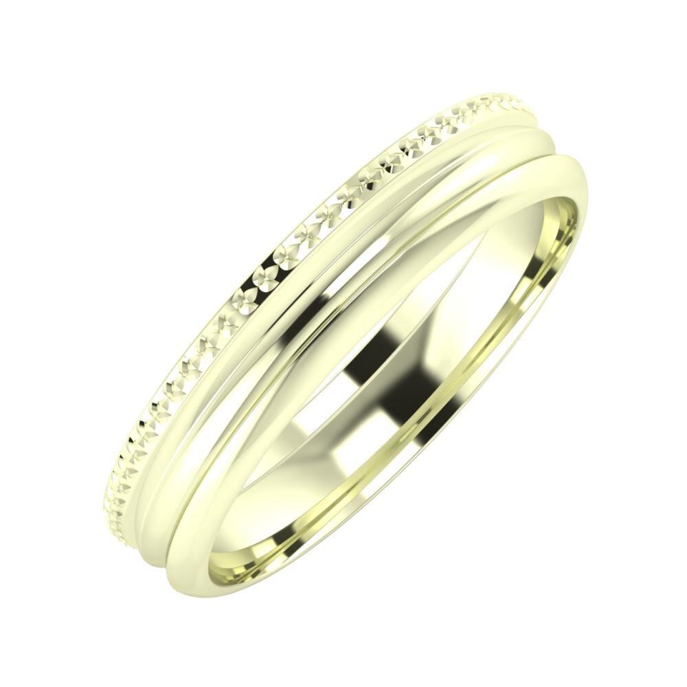 Ági - Alexandrin 4mm 22 karátos fehér arany karikagyűrű
