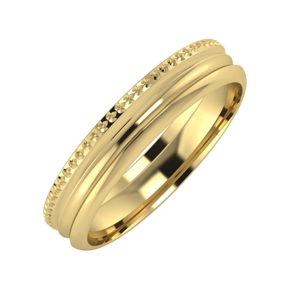 Ági - Alexandrin 4mm 14 karátos sárga arany karikagyűrű