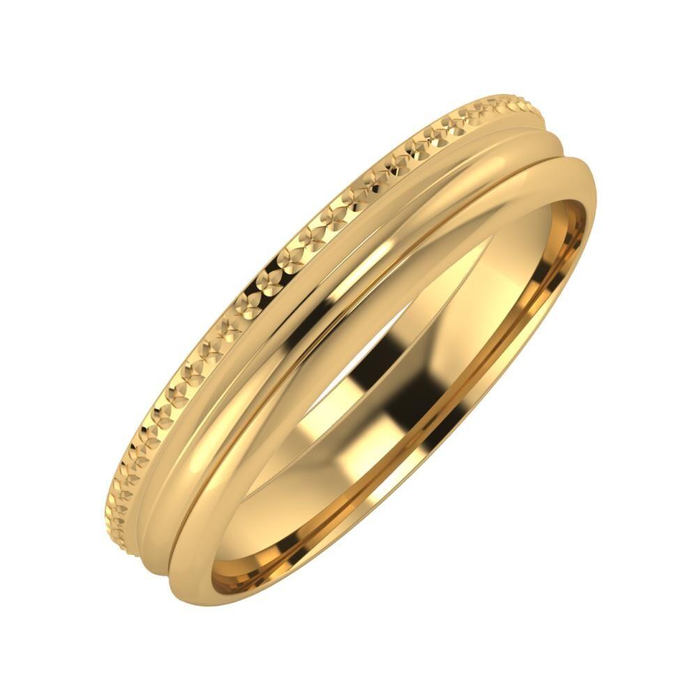 Ági - Alexandrin 4mm 18 karátos sárga arany karikagyűrű