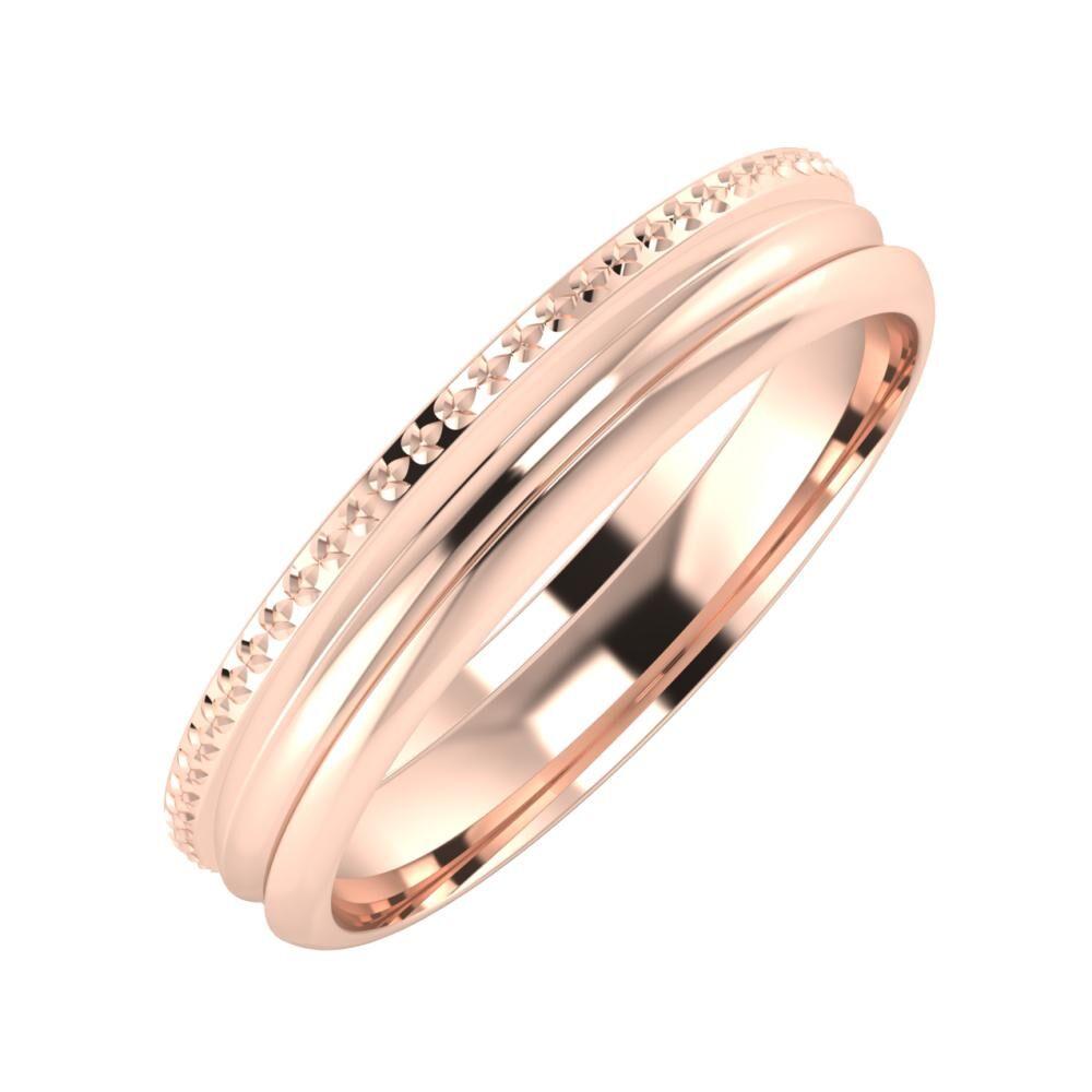 Ági - Alexandrin 4mm 14 karátos rosé arany karikagyűrű