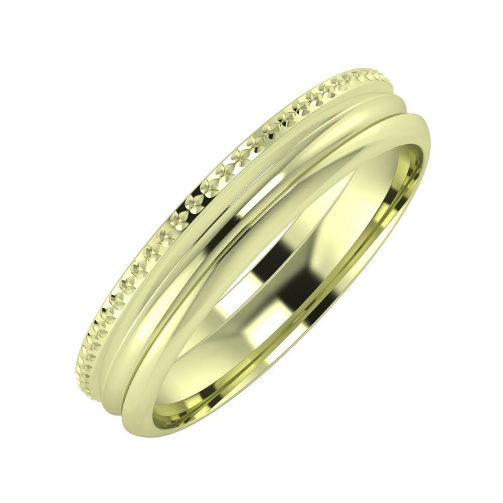 Ági - Alexandrin 4mm 14 karátos zöld arany karikagyűrű