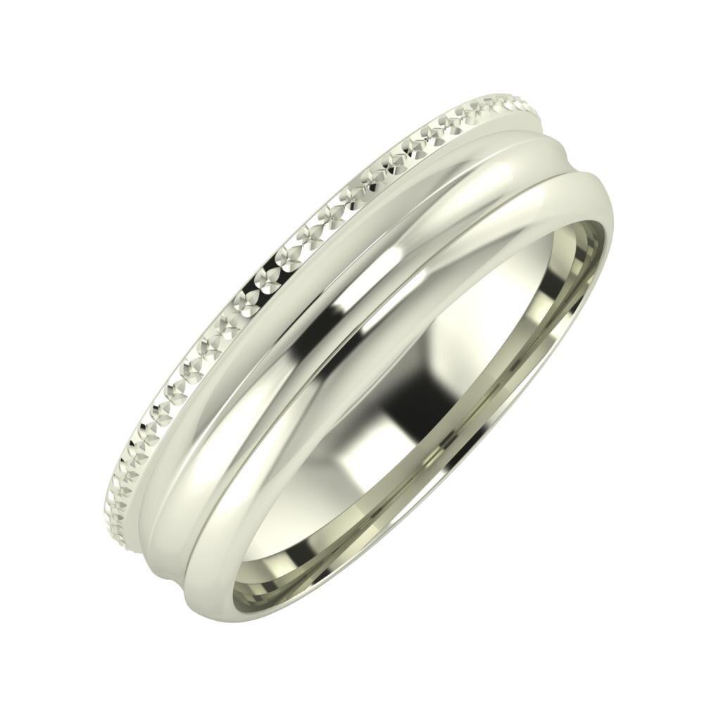 Ági - Alexandrin 5mm 18 karátos fehér arany karikagyűrű