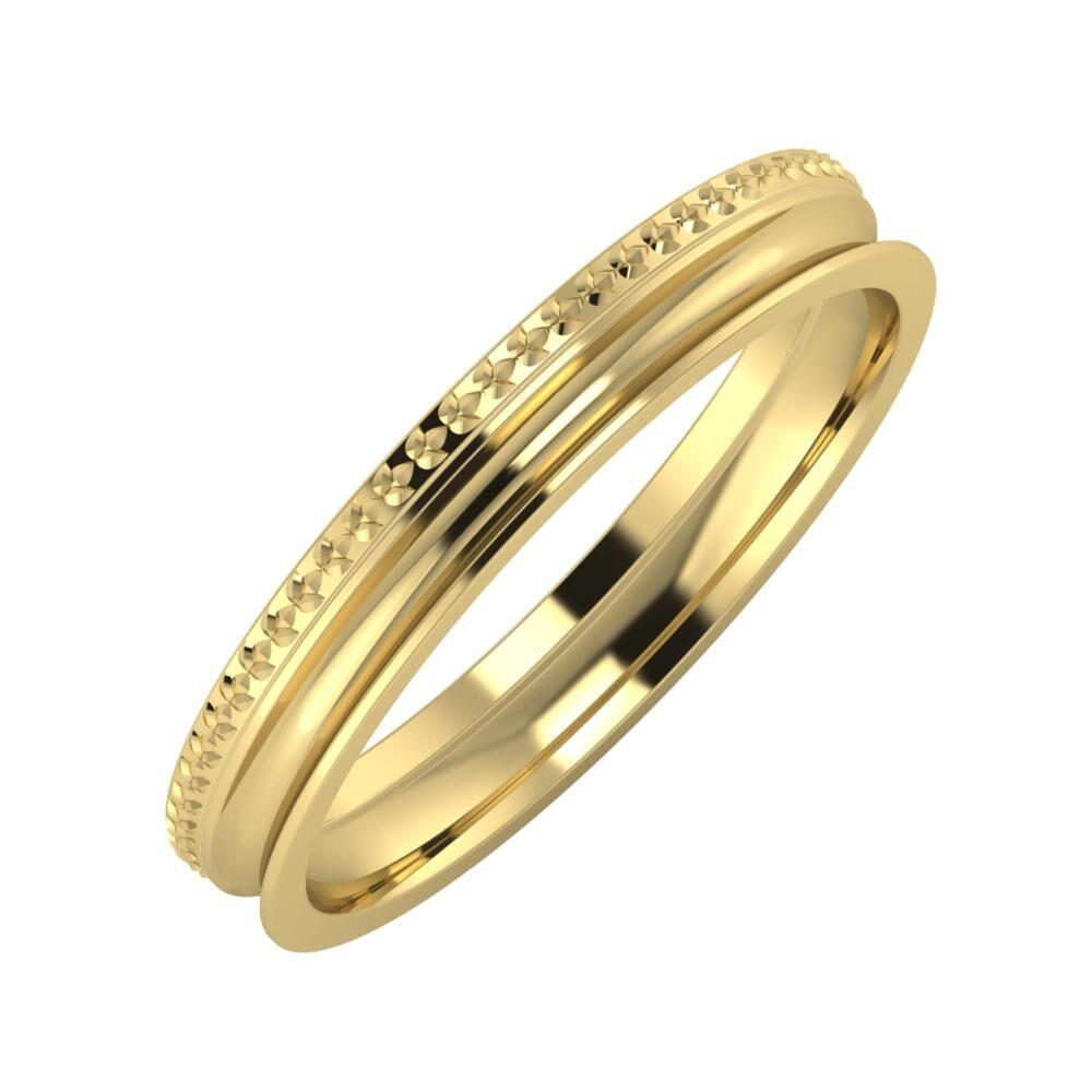 Ági - Alexandrina 3mm 14 karátos sárga arany karikagyűrű