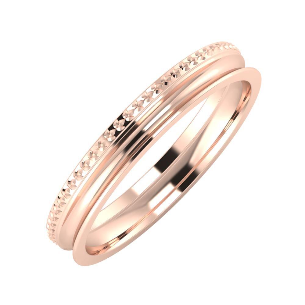 Ági - Alexandrina 3mm 18 karátos rosé arany karikagyűrű