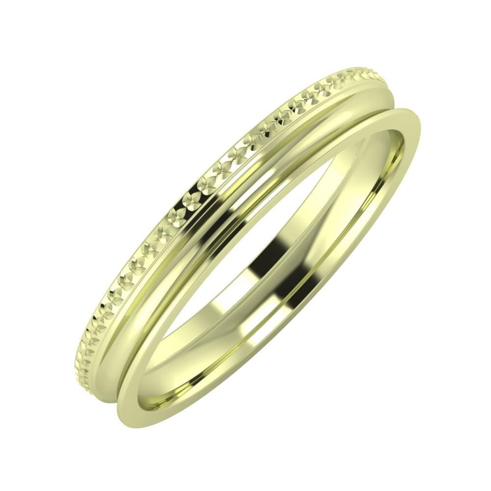 Ági - Alexandrina 3mm 14 karátos zöld arany karikagyűrű