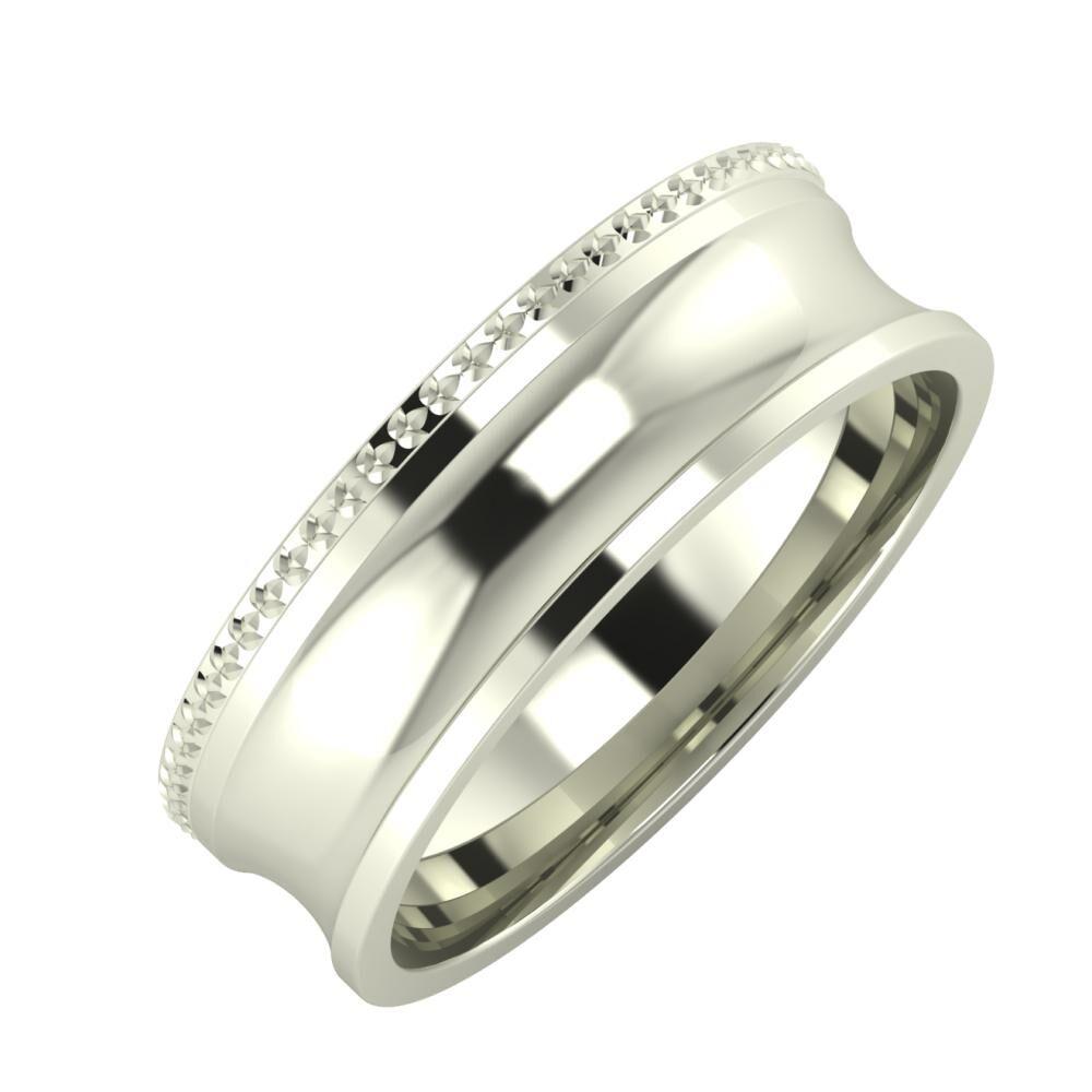 Ági - Alexandrina 6mm 14 karátos fehér arany karikagyűrű