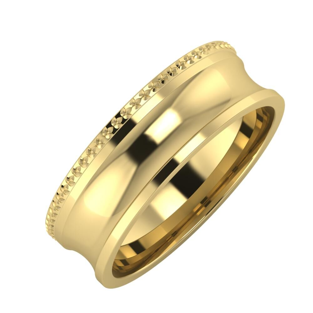 Ági - Alexandrina 6mm 14 karátos sárga arany karikagyűrű