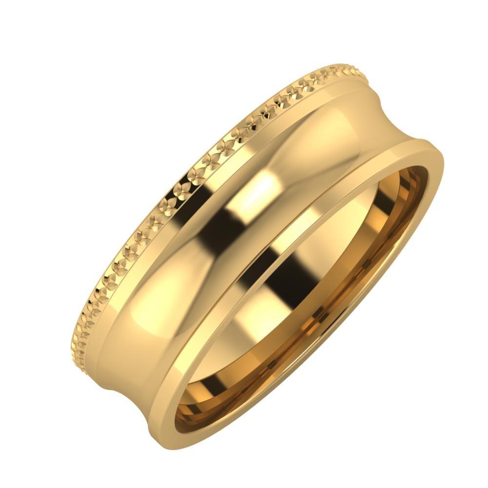 Ági - Alexandrina 6mm 22 karátos sárga arany karikagyűrű