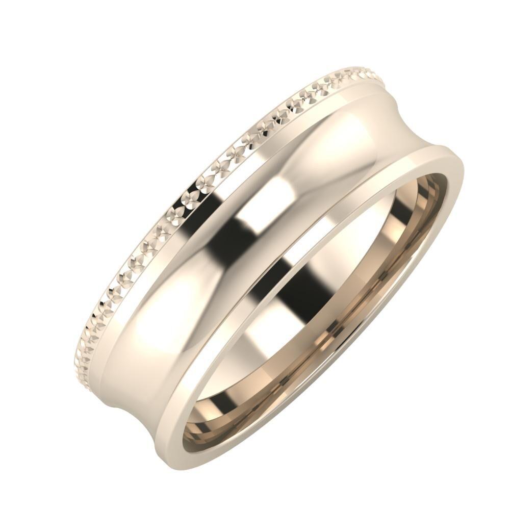 Ági - Alexandrina 6mm 22 karátos rosé arany karikagyűrű