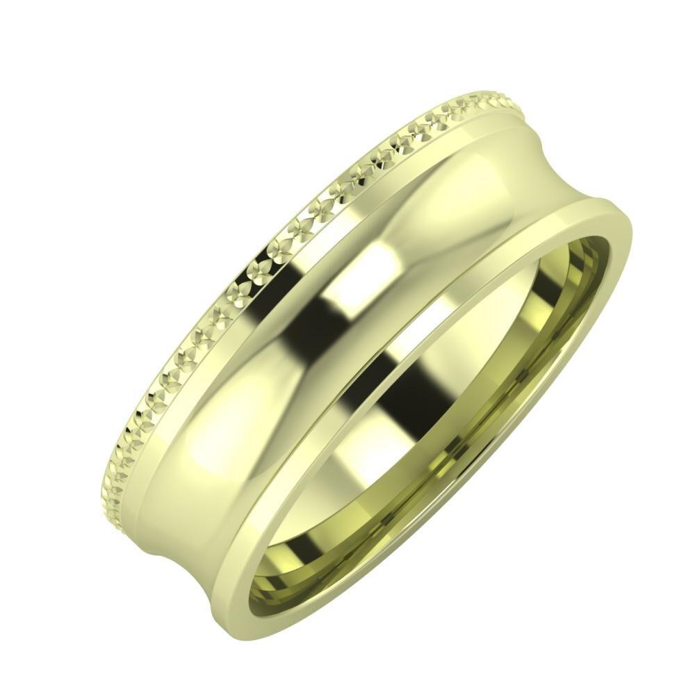 Ági - Alexandrina 6mm 14 karátos zöld arany karikagyűrű