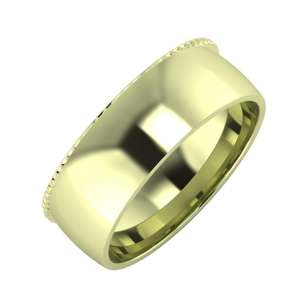 Ági - Alma 7mm 14 karátos zöld arany karikagyűrű