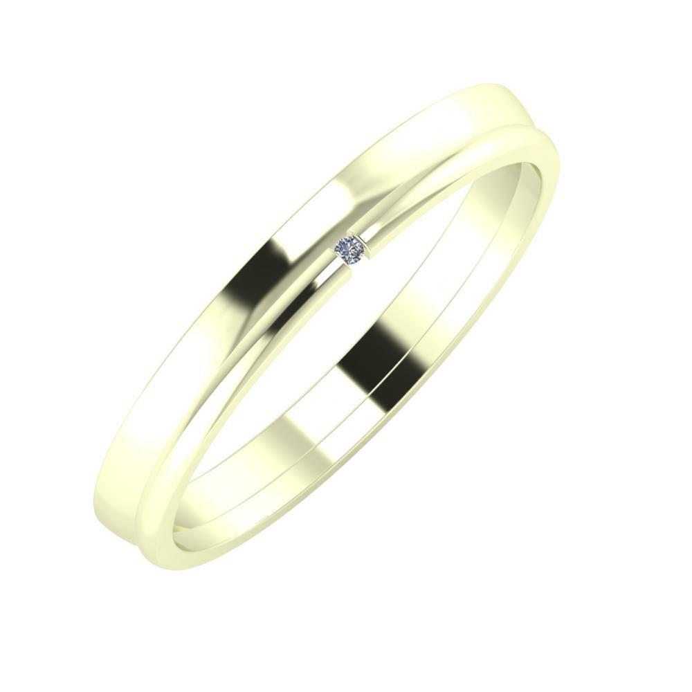 Ágosta - Adalind 3mm 22 karátos fehér arany karikagyűrű