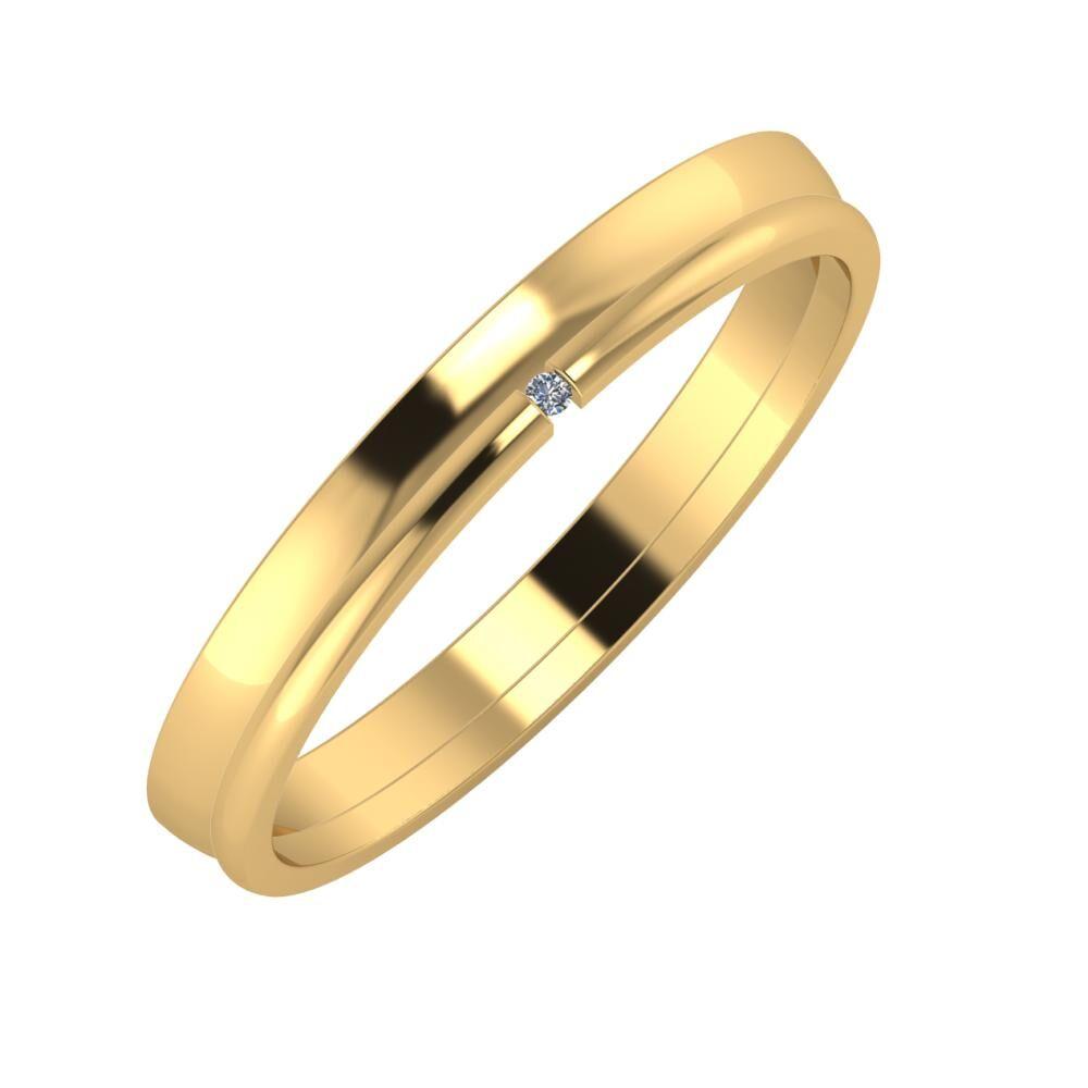Ágosta - Adalind 3mm 22 karátos sárga arany karikagyűrű