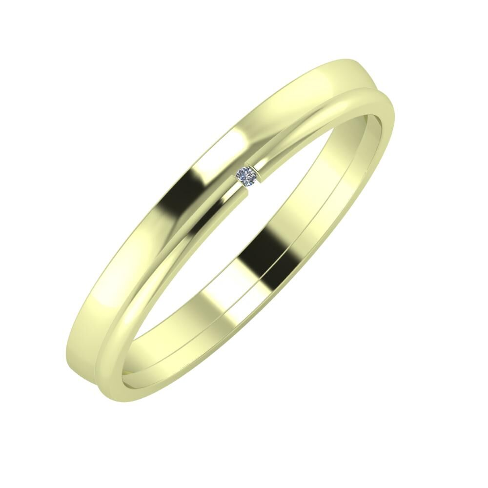 Ágosta - Adalind 3mm 14 karátos zöld arany karikagyűrű