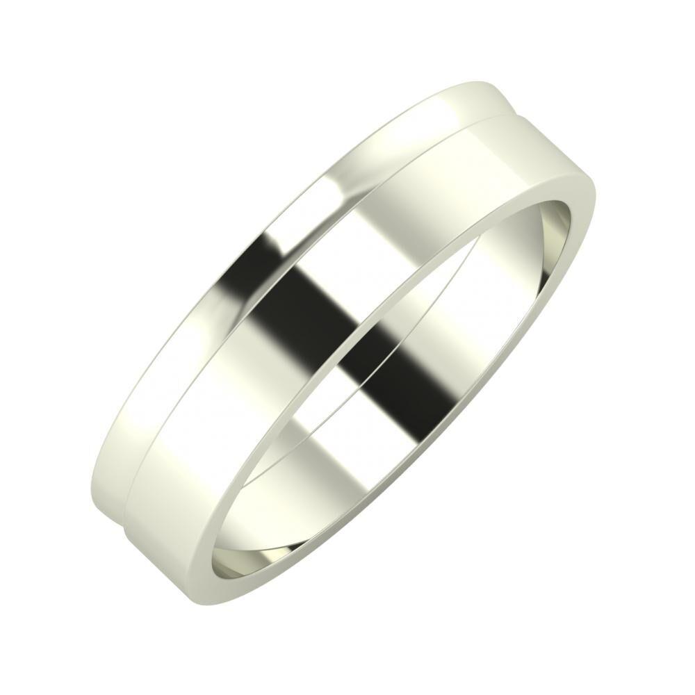 Ágosta - Adela 5mm 14 karátos fehér arany karikagyűrű