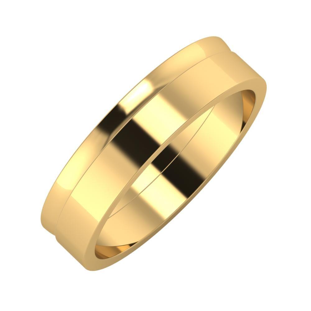 Ágosta - Adela 5mm 18 karátos sárga arany karikagyűrű