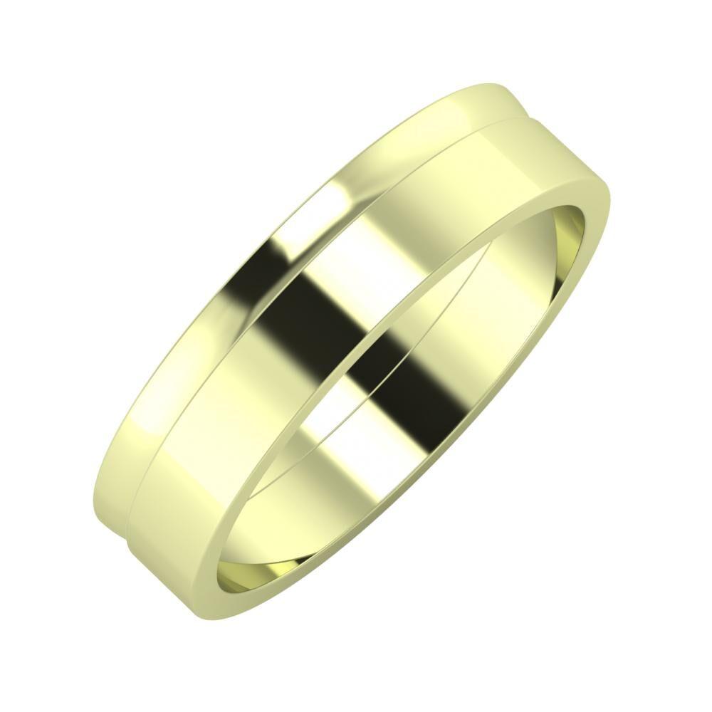 Ágosta - Adela 5mm 14 karátos zöld arany karikagyűrű