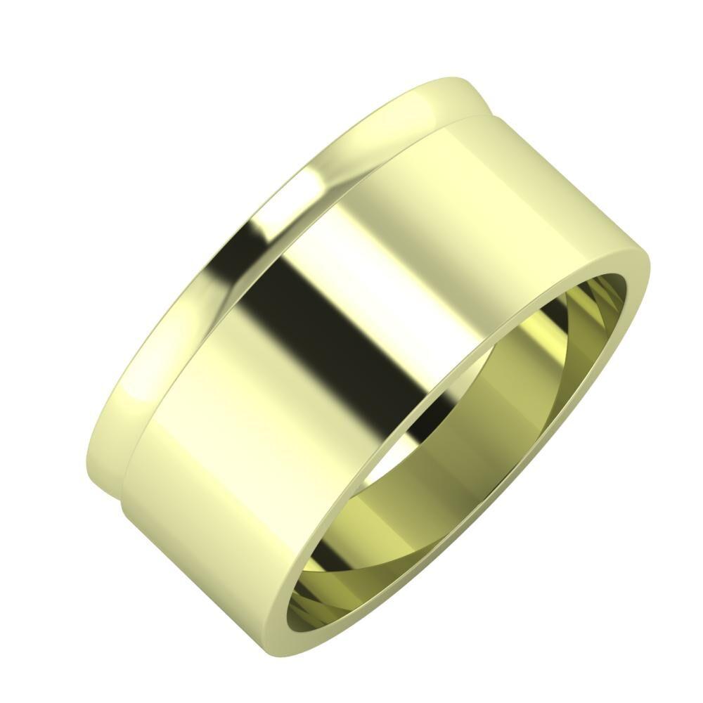 Ágosta - Adela 9mm 14 karátos zöld arany karikagyűrű