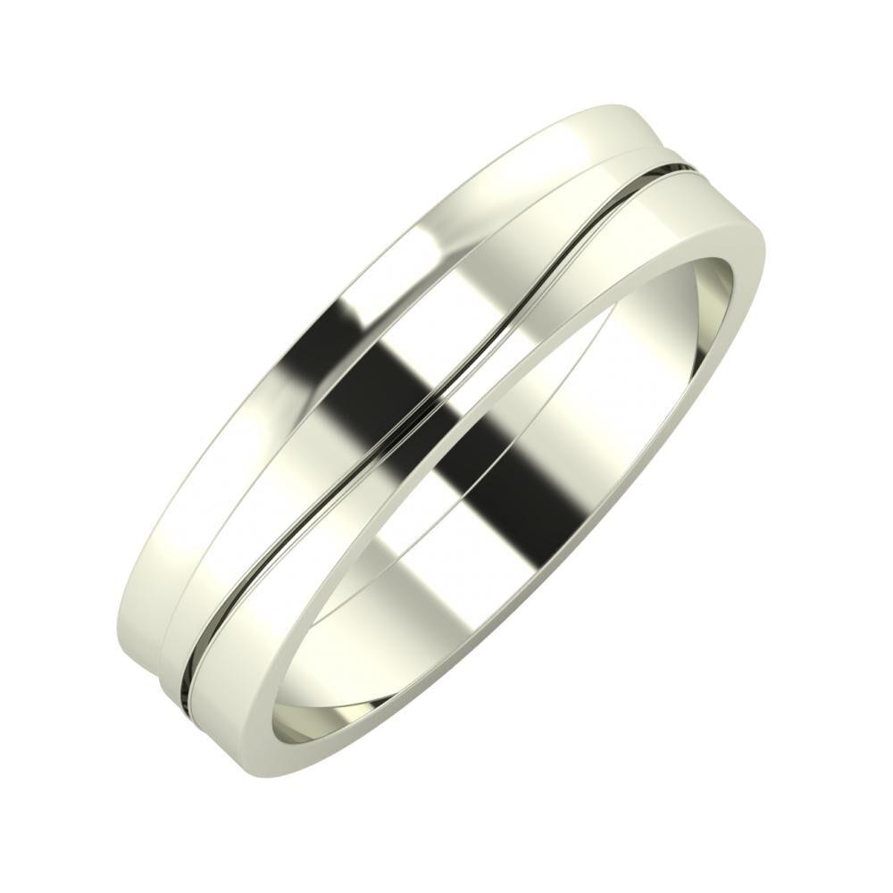 Ágosta - Adelinda 5mm 18 karátos fehér arany karikagyűrű