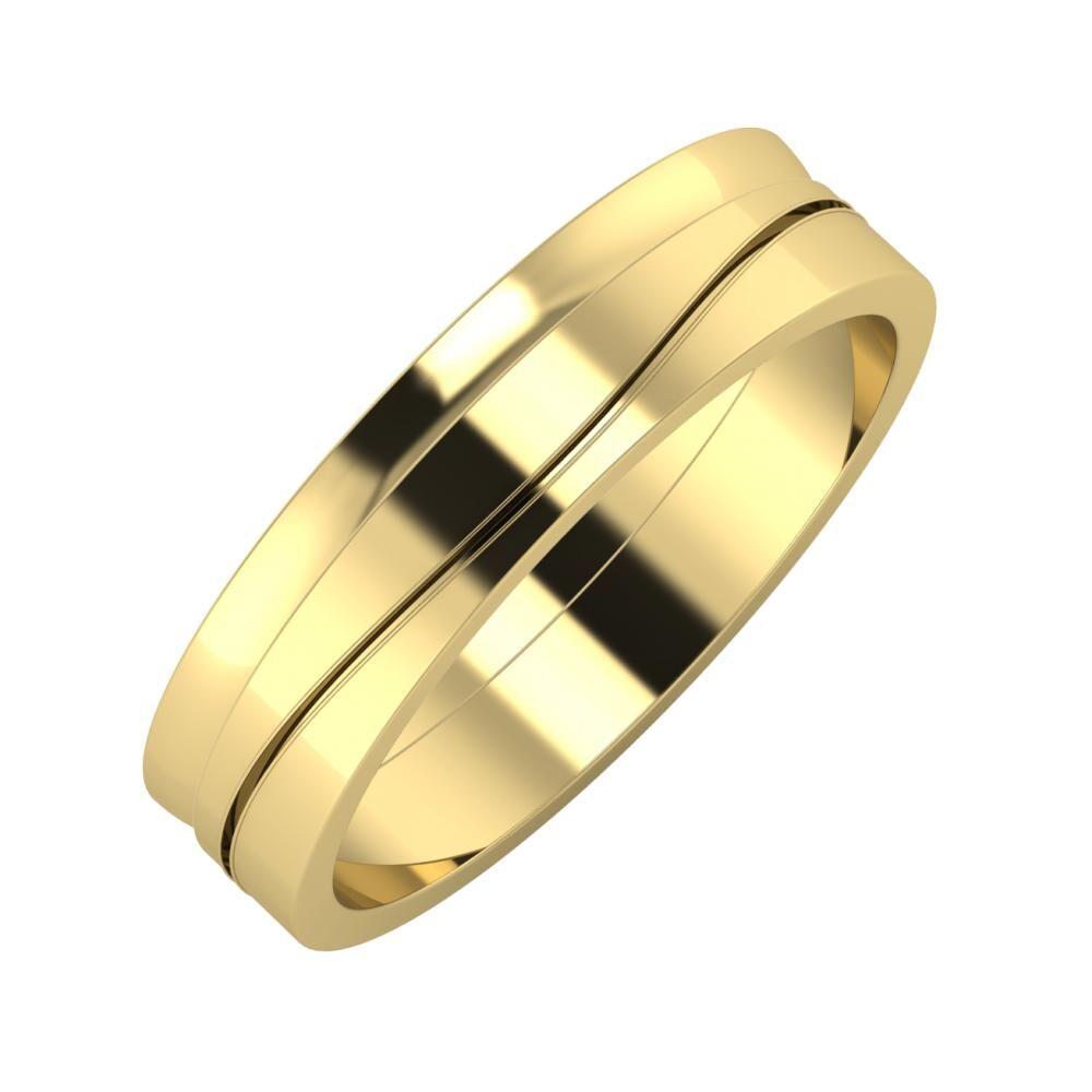 Ágosta - Adelinda 5mm 14 karátos sárga arany karikagyűrű