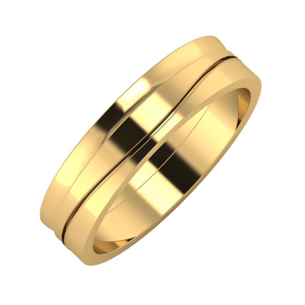 Ágosta - Adelinda 5mm 22 karátos sárga arany karikagyűrű