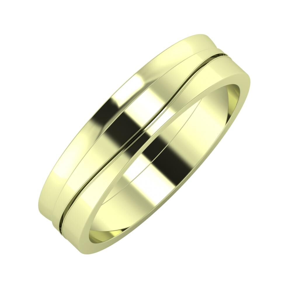 Ágosta - Adelinda 5mm 14 karátos zöld arany karikagyűrű