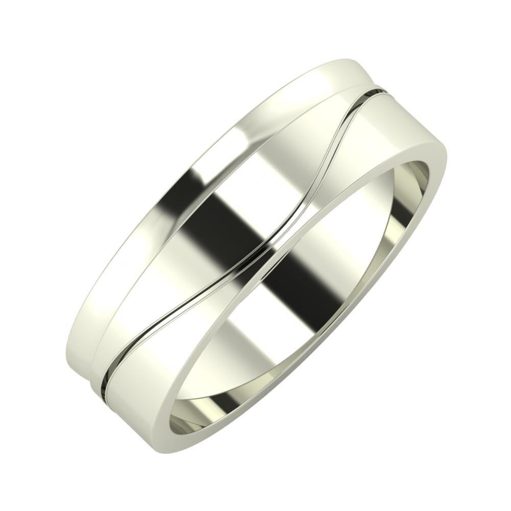 Ágosta - Adelinda 6mm 14 karátos fehér arany karikagyűrű