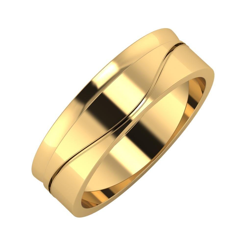 Ágosta - Adelinda 6mm 22 karátos sárga arany karikagyűrű