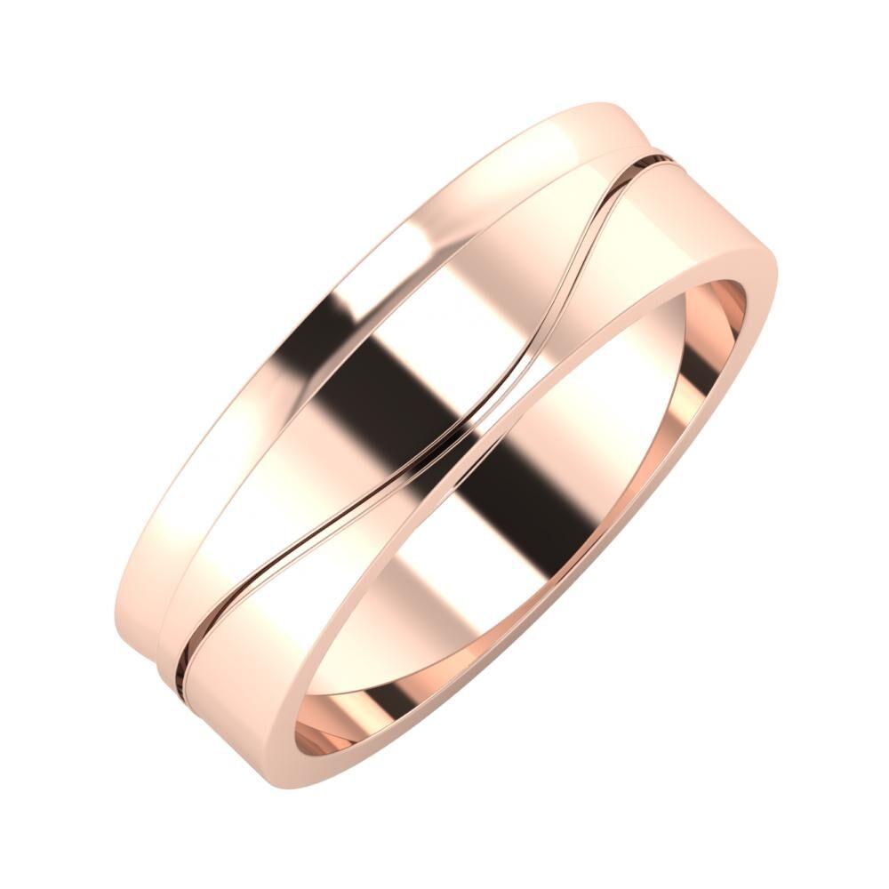 Ágosta - Adelinda 6mm 14 karátos rosé arany karikagyűrű