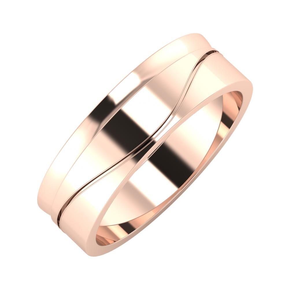 Ágosta - Adelinda 6mm 18 karátos rosé arany karikagyűrű