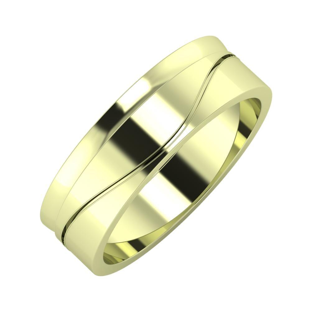 Ágosta - Adelinda 6mm 14 karátos zöld arany karikagyűrű
