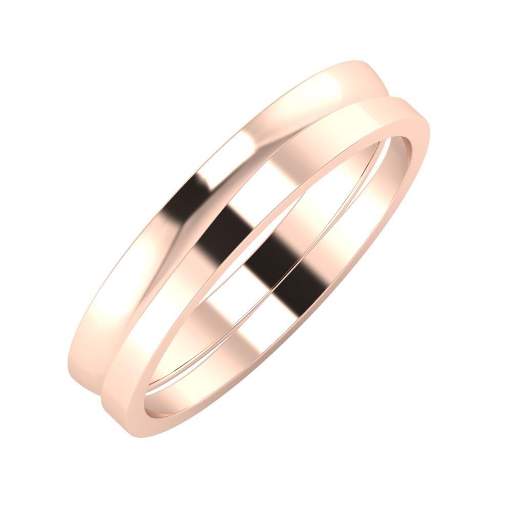 Ágosta - Adria 4mm 14 karátos rosé arany karikagyűrű