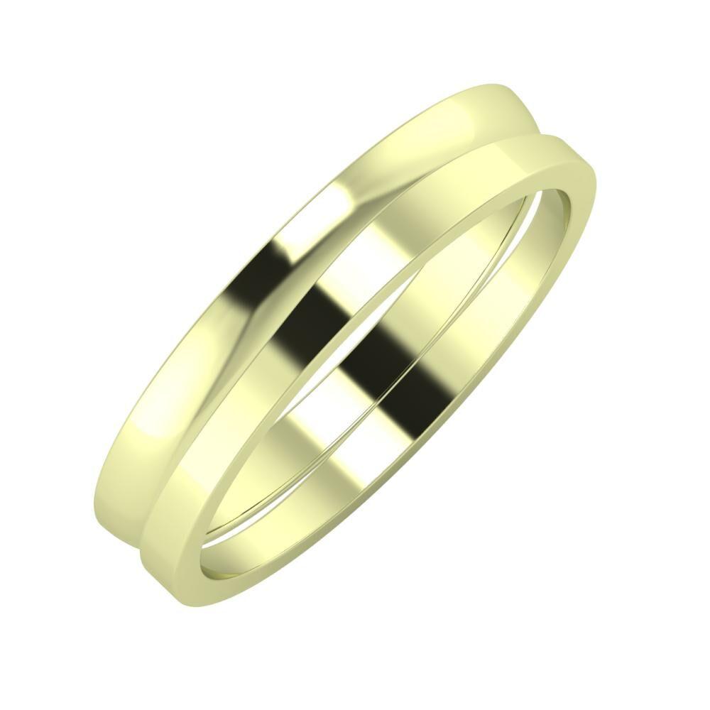 Ágosta - Adria 4mm 14 karátos zöld arany karikagyűrű