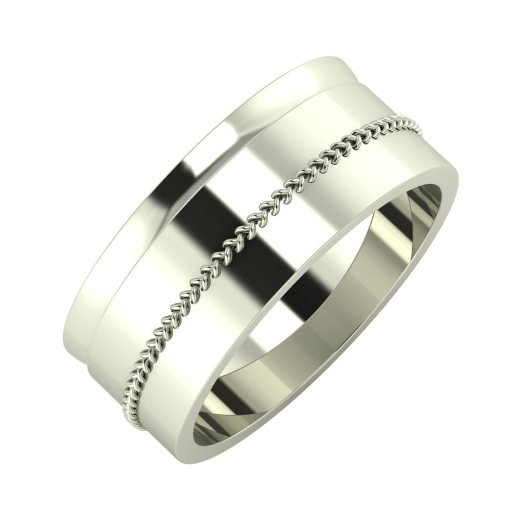 Ágosta - Áfonya 8mm 14 karátos fehér arany karikagyűrű
