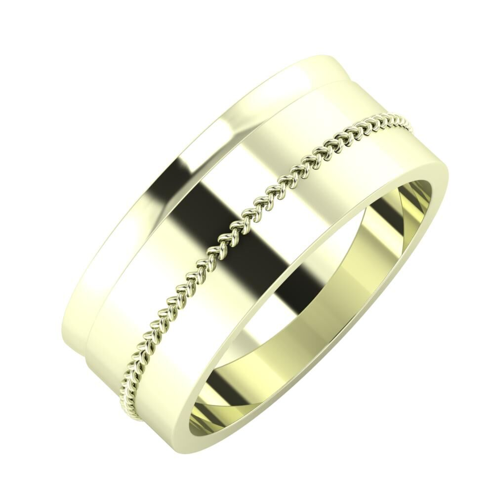 Ágosta - Áfonya 8mm 22 karátos fehér arany karikagyűrű