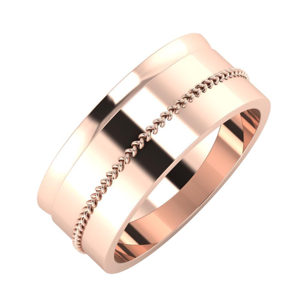 Ágosta - Áfonya 8mm 14 karátos rosé arany karikagyűrű