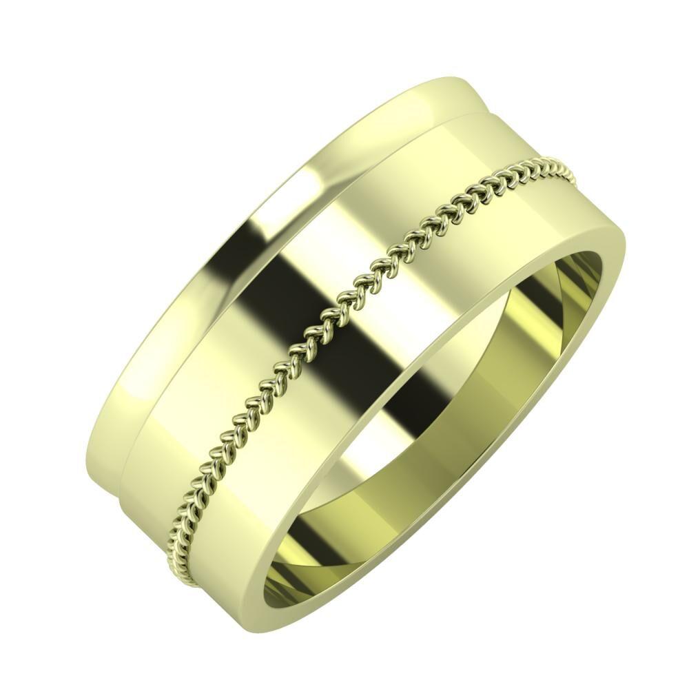Ágosta - Áfonya 8mm 14 karátos zöld arany karikagyűrű