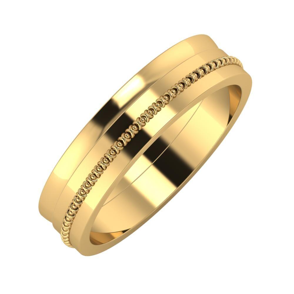 Ágosta - Afrodita 5mm 22 karátos sárga arany karikagyűrű