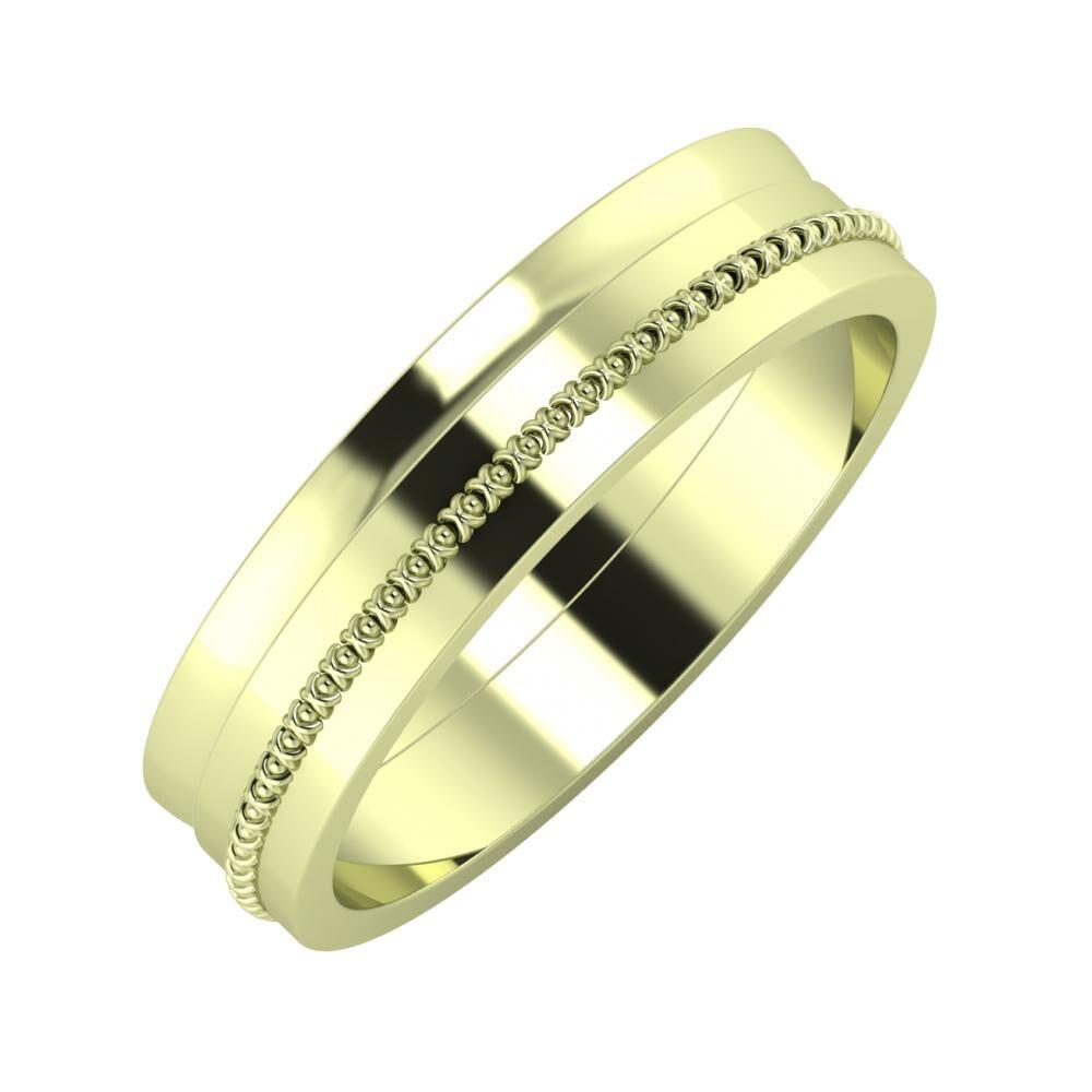Ágosta - Afrodita 5mm 14 karátos zöld arany karikagyűrű