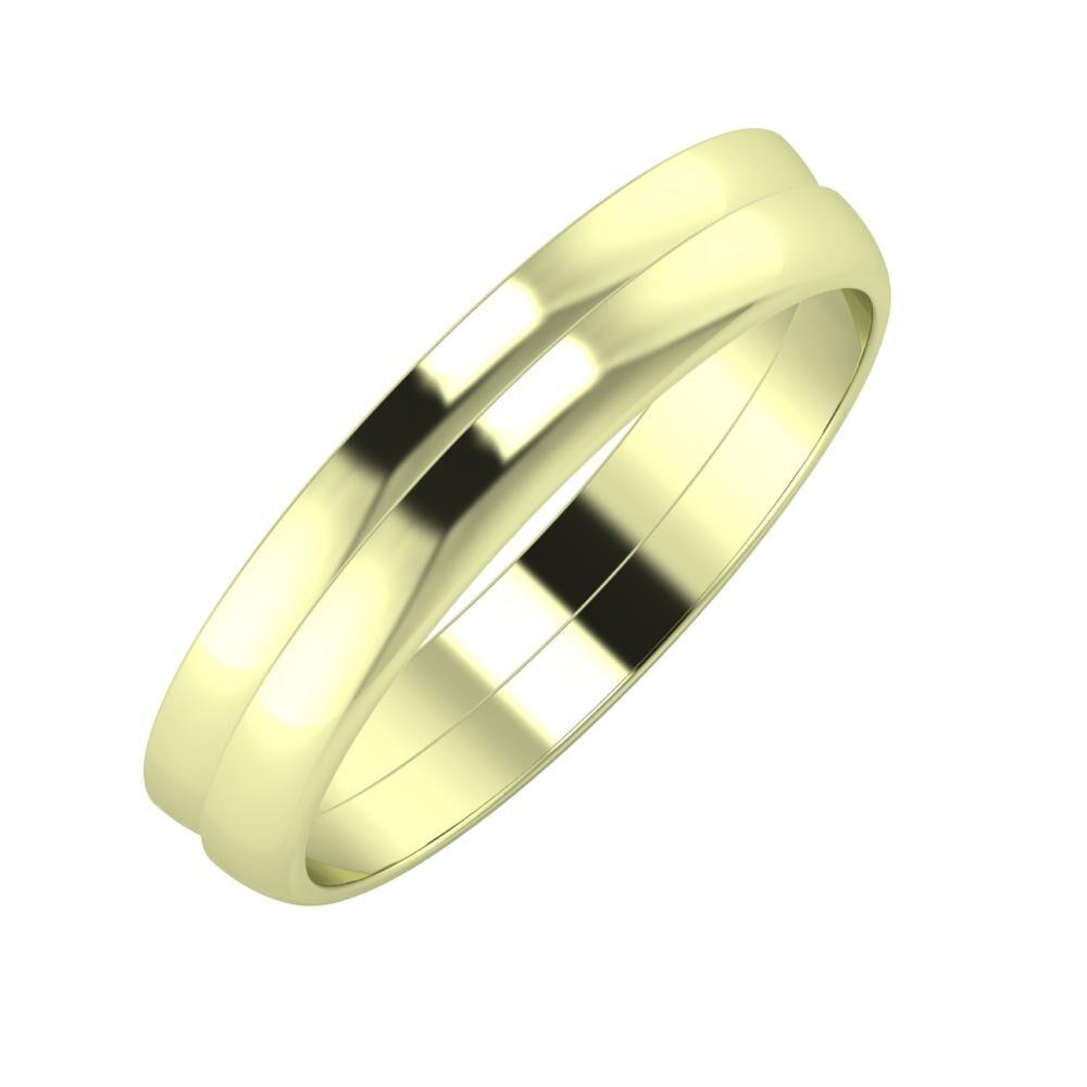 Ágosta - Ágosta 4mm 14 karátos zöld arany karikagyűrű