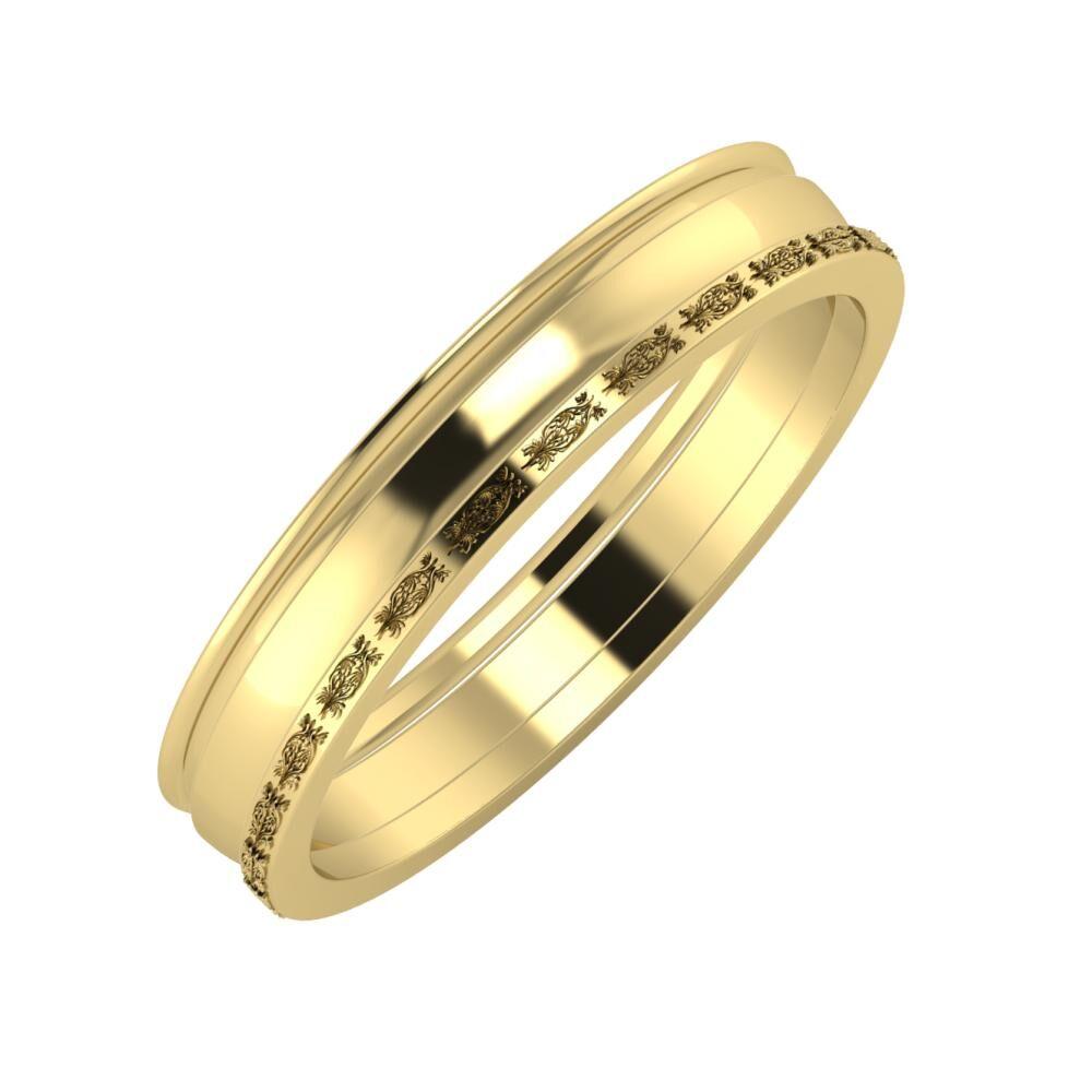 Agrippína - Ágosta - Agnella 4mm 14 karátos sárga arany karikagyűrű