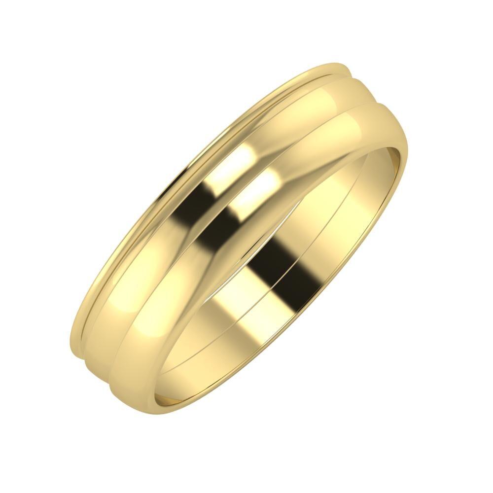 Agrippína - Ágosta - Ágosta 5mm 14 karátos sárga arany karikagyűrű