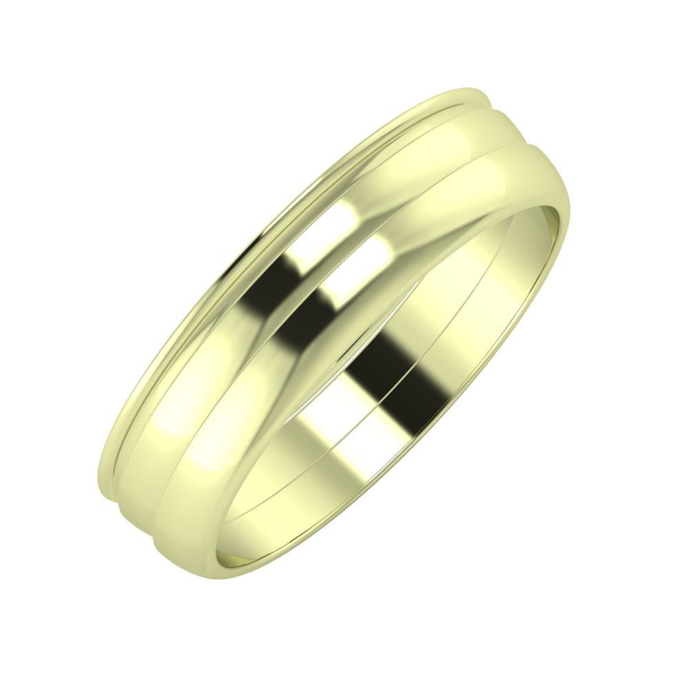 Agrippína - Ágosta - Ágosta 5mm 14 karátos zöld arany karikagyűrű