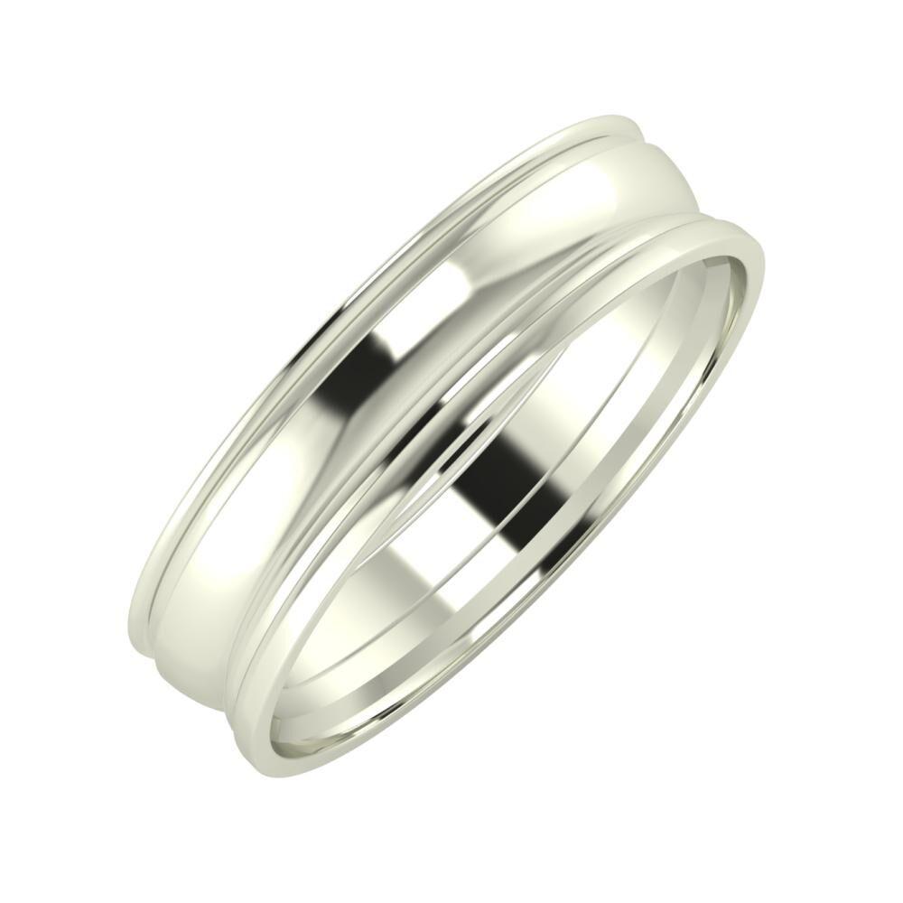 Agrippína - Ágosta - Aida 5mm 14 karátos fehér arany karikagyűrű