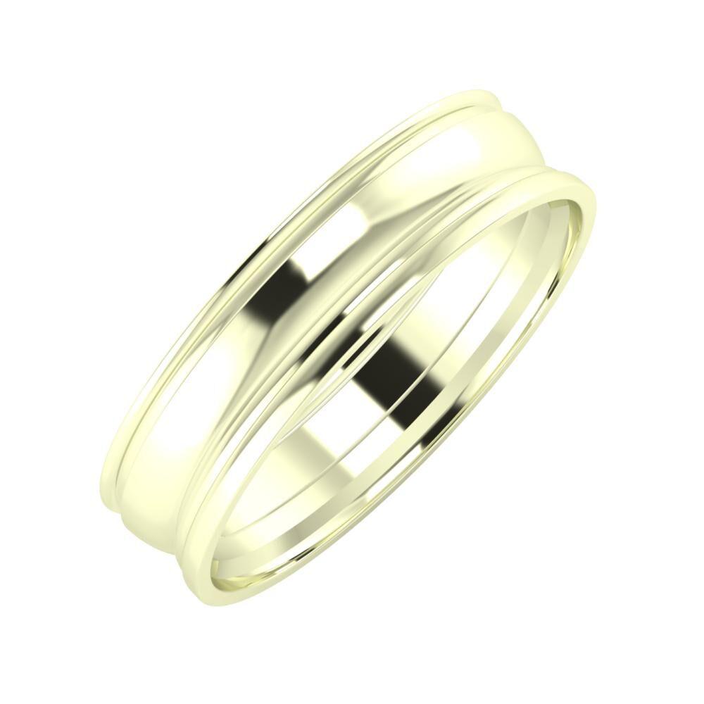 Agrippína - Ágosta - Aida 5mm 22 karátos fehér arany karikagyűrű
